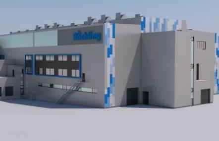 3-D-Ansicht des neuen Produktionsgebäudes von Röchling Medical in Neuhaus am Rennweg